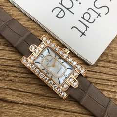 Harry Winston Avenue 32.3*15.6mm 18K Rose Gold White Mother Of Pearl Quartz AVEAHM21RR001