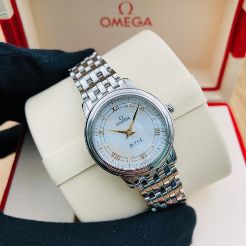 OMEGA De Ville Prestige 27.4mm Stainless Steel White Dial Quartz 424.10.27.60.55.001