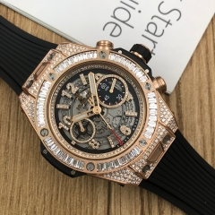 Hublot Big Bang 45mm 18K Rose Gold Dial Mat Black Dial Indexes Set with 212 Diamonds Automatic 411.OX.1180.RX.0904