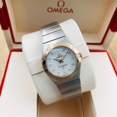 OMEGA Constellation 24mm Steel-Rose Gold White Mother Of Pearl Dial Quartz 123.20.24.60.55.001