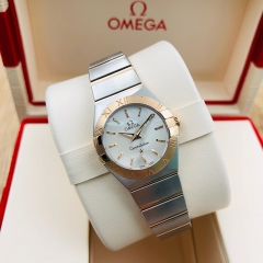 OMEGA Constellation 24mm Steel-Rose Gold Silver Dial Quartz 123.20.24.60.02.001