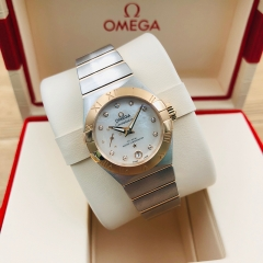 OMEGA Constellation 27mm Steel-Rose Gold White Mother of Pearl Dial Automatic 127.20.27.20.55.001