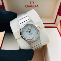 OMEGA Constellation 27mm Steel-Rose Gold White Mother of Pearl Quartz 123.25.27.60.55.001