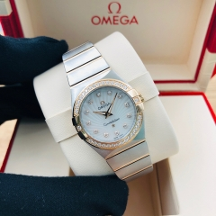 OMEGA Constellation 27mm Steel-Rose Gold White Mother of Pearl Quartz 123.25.27.60.55.002