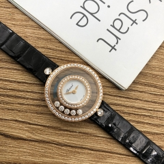 Chopard Happy Diamonds 25.8mm 18K Rose Gold White Dial Quartz 203957-5201