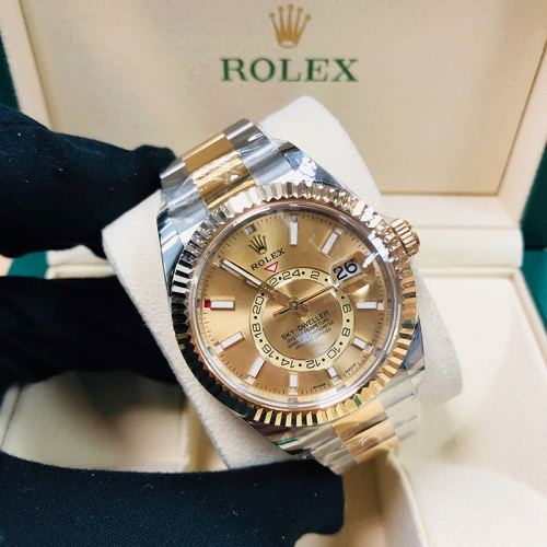 ROLEX Sky-Dweller 42mm Steel-Yellow Gold Champagne Dial Automatic 326933CH