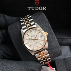 Tudor Prince Date 34mm Steel-Yellow Silver Dial Automatic M74033-0018