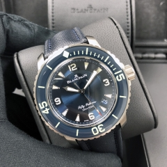 Blancpain Fifty Fathoms 45mm Titanium Blue Dial Automatic 5015-12B40-O52A