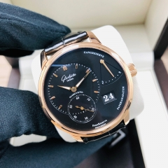 GLASHUTTE Pano PanoReserve 40mm 18K Rose gold Black Dial Manual Winding 1-65-01-29-15-30