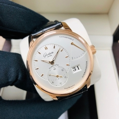 GLASHUTTE Pano 40mm 18K Rose Gold White Dial Manual Winding 1-65-01-25-15-04