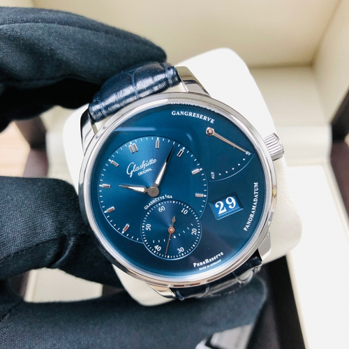 GLASHUTTE Pano 40mm Stainless Steel Blue Dial Manual Winding 1-65-01-26-12-35