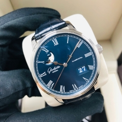 GLASHUTTE Senator Panorama Date Moon Phase 40mm Stainless Steel Blue Dial Automatic 100-04-05-12-30