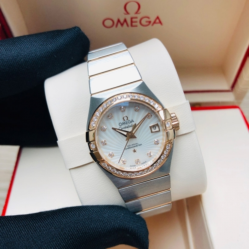 OMEGA Constellation 27mm Steel-Rose Gold White Mother Of Pearl Dial Automatic 123.25.27.20.55.001