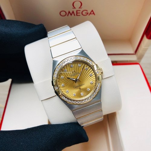 OMEGA Constellation 27mm Steel-Yellow Gold Champagne Dial Quartz 123.25.27.60.58.001