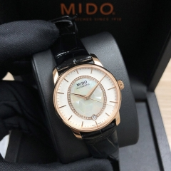 MIDO Baroncelli 33MM Stainless Steel With Rose Gold PVD Coating White Mother Of Pearl Automatic M007.207.36.116.00