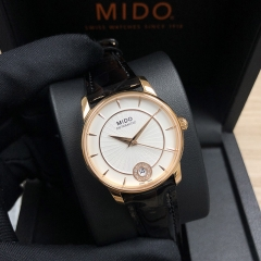 MIDO Baroncelli 33mm Stainless Steel With Rose Gold Coating Silver Dial Automatic M007.207.36.036.00