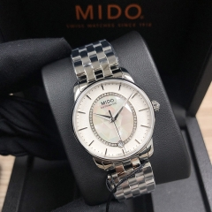 MIDO Baroncelli 33MM Stainless Steel White of Pearl Dial Automatic M007.207.11.116.00