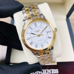 LONGINES Flagship 35.5MM Stainless Steel With Yellow Gold PVD Coating White Dial Automatic L4.774.3.21.7