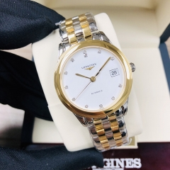 LONGINES Flagship 35.5MM Stainless Steel With Yellow Gold PVD Coating White Dial Automatic L4.774.3.27.7