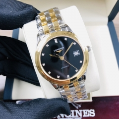 LONGINES Flagship 35.5MM Stainless Steel With Yellow Gold PVD Coating Black Dial Automatic L4.774.3.57.7