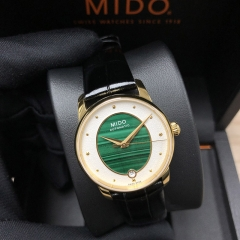 MIDO Baroncelli 33MM Stainless Steel With Yellow Gold PVD Coating Green Dial Automatic M035.207.36.461.00
