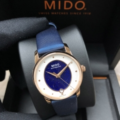 MIDO Baroncelli 33MM Stainless Steel With Rose Gold PVD Coating Blue Dial Automatic M035.207.37.491.00