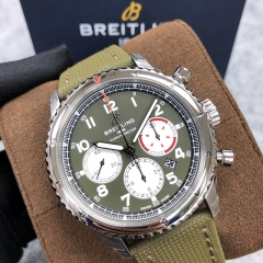 BREITLING Aviator 8 B01 Chronograph 43 Curtiss Warhawk 43MM Stainless Steel Green Dial  Automatic AB01192A1L1X2