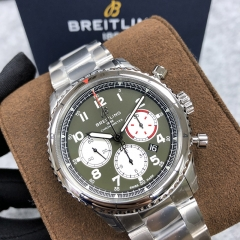 BREITLING Aviator 8 B01 Chronograph 43 Curtiss Warhawk 43MM Stainless Steel Green Dial  Automatic AB01192A1L1A1