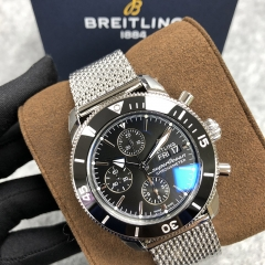 BREITLING Superocean Heritage 44MM Chronograph Stainless Steel Black Dial Automatic A13313121B1A1