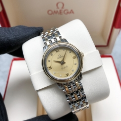 OMEGA De Ville Steel-Yellow Gold 24MM Champagne Dial Quartz 424.20.24.60.58.001