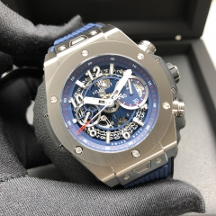 Hublot Big Bang 45mm Titanium Mat Blue Skeleton Dial Automatic 411.NX.5179.RX