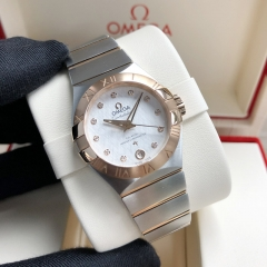 OMEGA Constellation Steel-Rose Gold 27MM Silver Dial Automatic 127.20.27.20.52.001